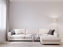白色墙壁现代客厅内部的嘲笑 皇族释放例证