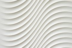 白色墙壁纹理,抽象样式,挥动波浪现代,几何交叠层数背景 免版税图库摄影
