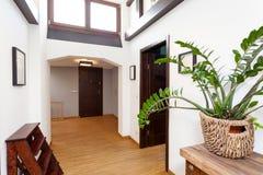 白色大厅在现代房子里 免版税图库摄影
