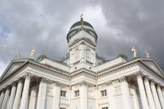 白色大教堂Tuomiokirkko在赫尔辛基,芬兰 免版税库存照片