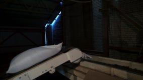 白色大袋旅行沿从五谷工厂的传送带的麦子五谷出口的 股票录像