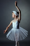白色天鹅的好的小女孩跳舞角色 库存照片