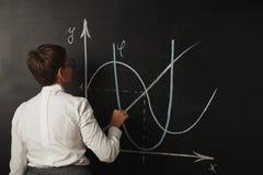 白色女衬衫的老师在黑板 免版税库存图片