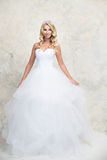 白色婚礼礼服的新娘与冠 白肤金发 库存图片