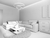 白色客厅内部 免版税图库摄影