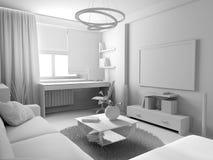 白色客厅内部 免版税库存图片