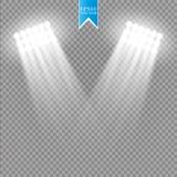 白色对透明背景的传染媒介聚光灯光线影响 与焕发光芒照亮的火花共同安排场面 皇族释放例证