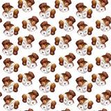 白色小狗画象的无缝的小狗水彩样式与棕色狗起重器罗素狗的在白色背景朝向为 向量例证
