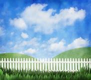 白色尖桩篱栅 免版税库存照片