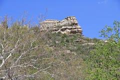 白色岩层在Sedona亚利桑那 库存照片
