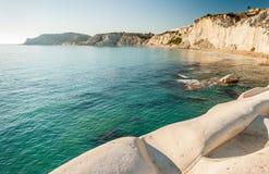 白色峭壁在阿哥里根托附近叫`斯卡拉dei Turchi `在西西里岛, 免版税库存照片