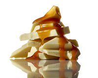 白色巧克力和焦糖 库存照片