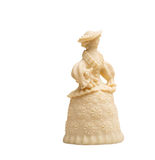 白色巧克力小雕象-有狗的妇女 库存照片