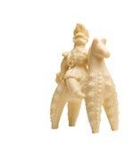 白色巧克力小雕象-骑士和马 免版税库存照片