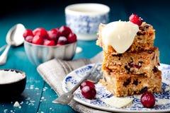 白色巧克力蛋糕、blondie、果仁巧克力用蔓越桔和椰子 免版税库存图片