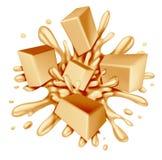 白色巧克力飞溅 免版税库存图片