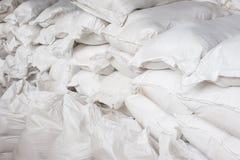 白色帆布大袋 免版税库存照片
