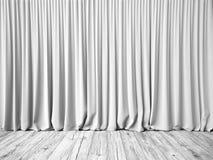 白色帷幕和地板背景 免版税图库摄影
