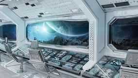 白色干净的太空飞船内部有行星地球3D上的看法烈 库存例证