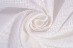 白色弄皱了针线的棉花帆布作为背景 库存照片