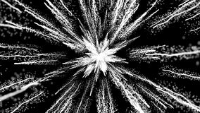 白色微粒的动画在黑背景、尘末爆炸和关闭的看法 皇族释放例证