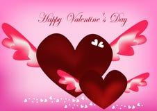 白色心脏和红色心脏与翼 在桃红色背景中 免版税图库摄影