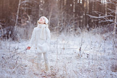白色成套装备的逗人喜爱的儿童女孩在步行在冬天结冰的森林里 库存图片