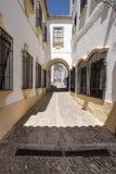 白色房子在朗达,安大路西亚西班牙 免版税图库摄影