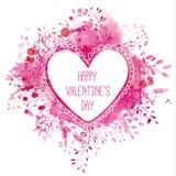 白色手拉的心脏框架与文本愉快的情人节 与分支的桃红色水彩飞溅背景 艺术性的设计骗局 图库摄影