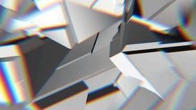 白色抽象多角形打破的形状动摇无缝的圈 3D动画 向量例证