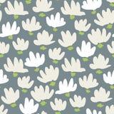 白色抽象手势头状花序传染媒介无缝的样式 简单的干净的花卉Backrgound Snowdrop,百合 皇族释放例证