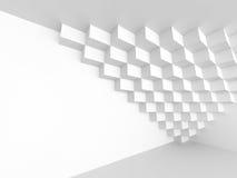 白色抽象未来派建筑学背景 立方体Geometr 免版税库存照片