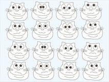 白色抽象猫用不同的心情,在蓝色背景 剪影,设计元素 库存照片