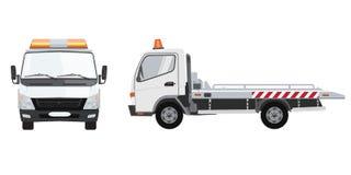 白色拖车有前面和侧视图 与单色设计的平的传染媒介 库存例证