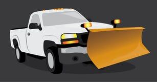 白色拾起有雪犁的卡车 库存照片