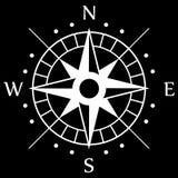 白色指南针标志 库存图片