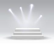 白色指挥台 垫座 平台 聚光灯 也corel凹道例证向量 免版税库存图片