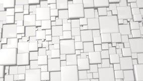 白色摘要求3d在4k的背景的立方 皇族释放例证