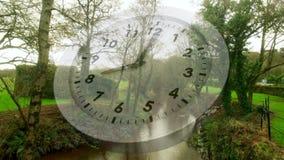 白色时钟和公园 影视素材