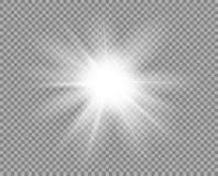 白色明亮的光,强光 装饰元素覆盖物闪烁,爆炸,星亮光 新年,圣诞节传染媒介设计  皇族释放例证