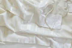 白色晨祷披巾- Tallit,犹太宗教标志 免版税图库摄影