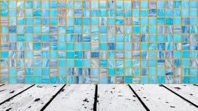 白色木地板和蓝色马赛克墙壁 库存图片