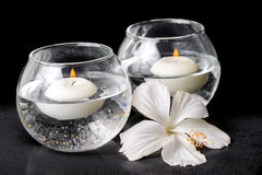 白色木槿的温泉概念开花和在花瓶的蜡烛 库存图片