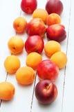 白色木背景顶视图用水多的橙色杏子和明亮的新鲜的红色油桃和桃子 库存图片