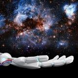 白色机器人手提出星系空间 3d翻译 图库摄影