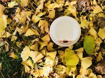 白色杯子与红色唇膏标记和黄色银杏树叶子的热的咖啡 库存图片