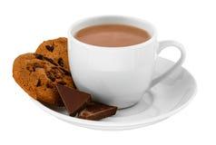 白色杯子热的饮料用饼干和巧克力在白色被隔绝的背景片 库存图片