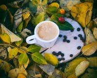 白色杯子用在一个木树桩的浓咖啡咖啡 免版税库存照片