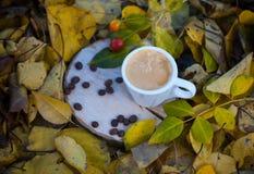 白色杯子用在一个木树桩的浓咖啡咖啡 免版税库存图片