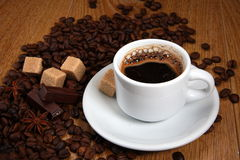 白色杯子用浓咖啡 免版税库存照片